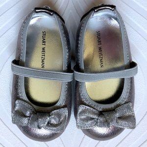 NWT Stuart Weitzman Silver Baby Mary Jane Shoes